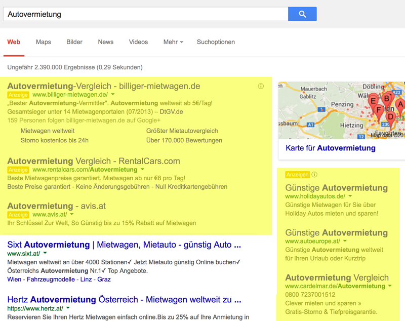 adwords verteilung