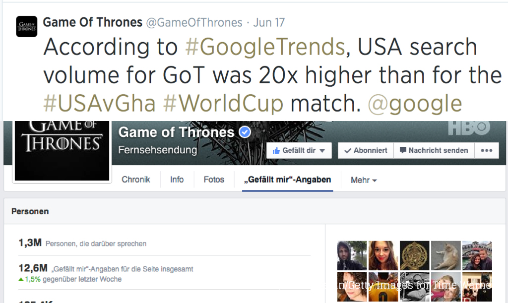 Game of Thrones auf Twitter und Facebook