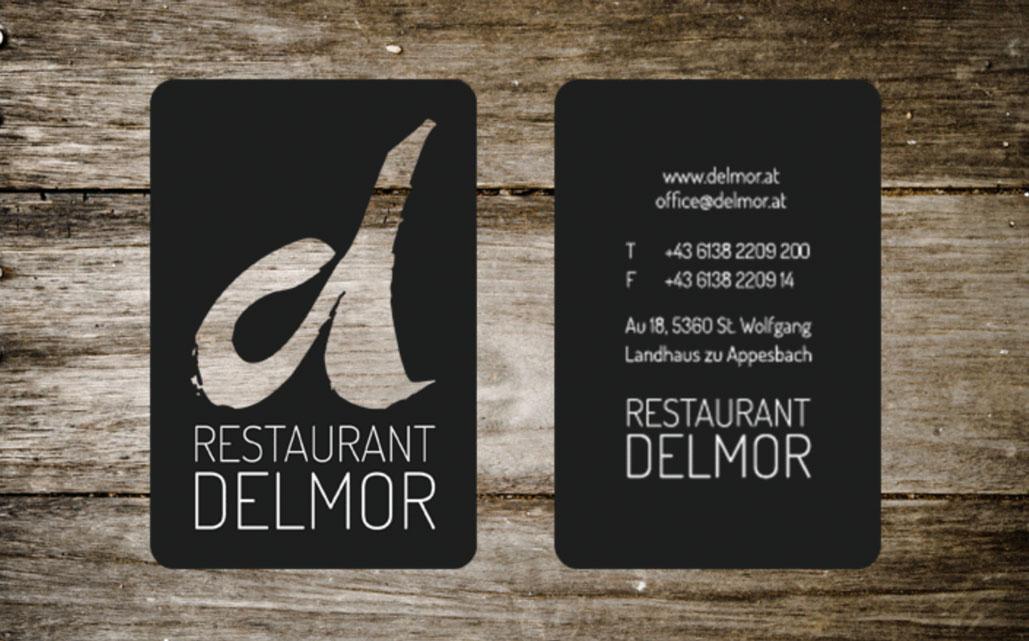 Visitenkarten des Restaurants Delmor