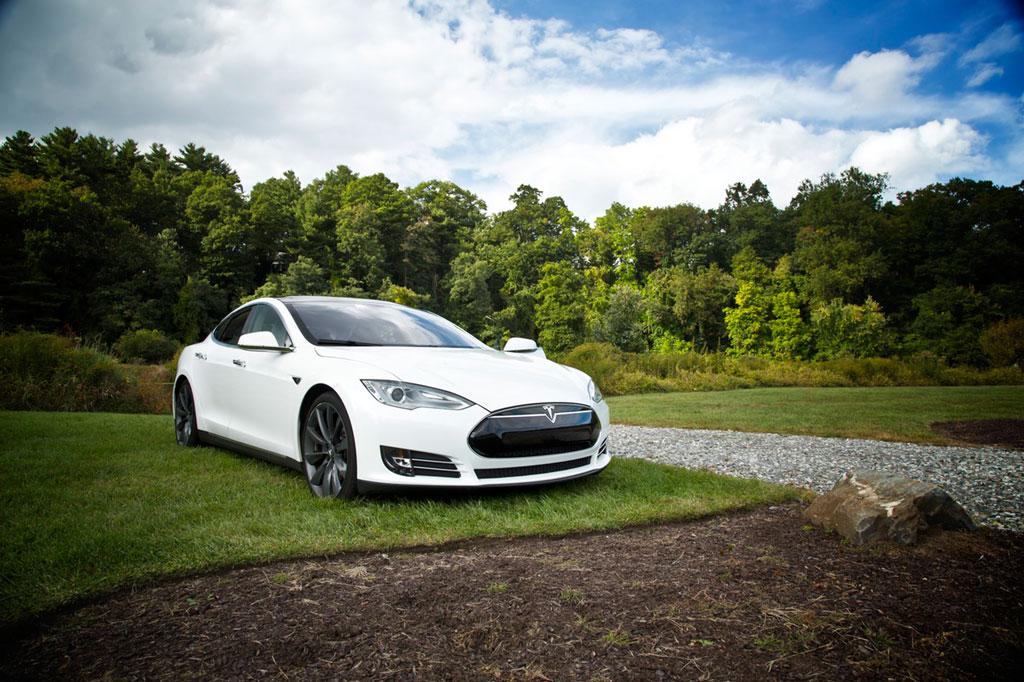 Ein weißer Tesla auf einer Wiese