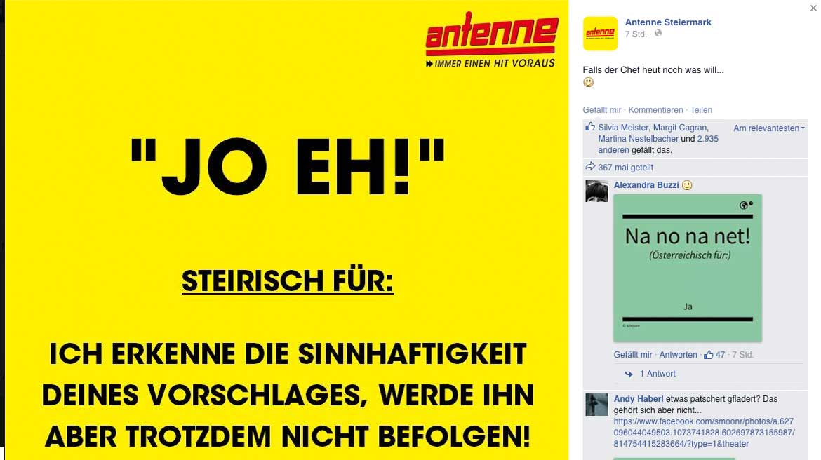 Screenshot vom Facebook Posting