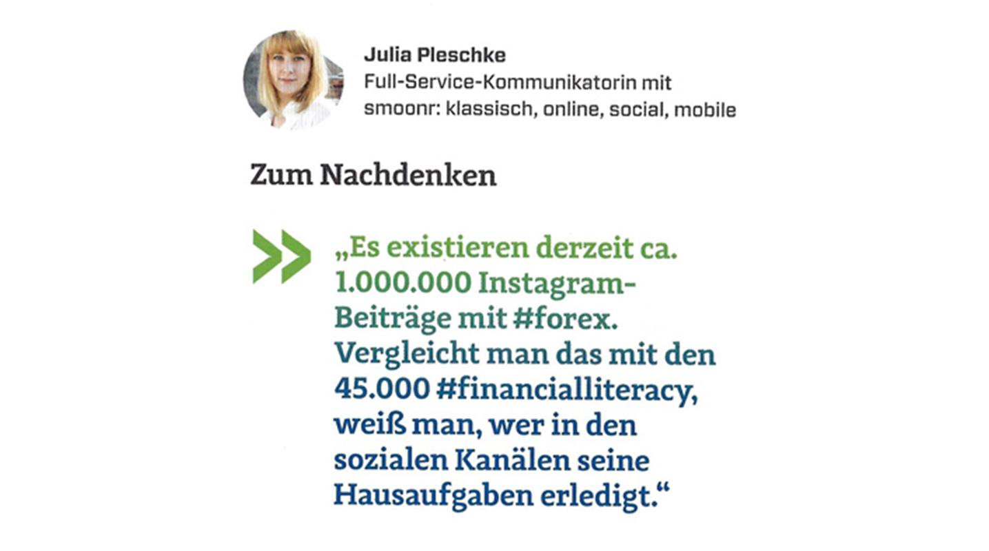 Julia Pleschke in der ersten Ausgabe des Börse Social Magazin