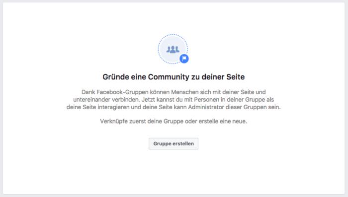 Facebook Community Gruppen für Seiten
