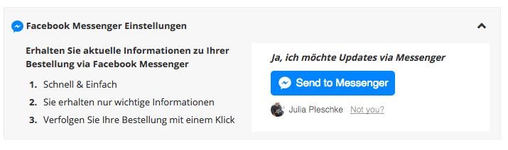 Facebook Messenger Notifications von Zalando